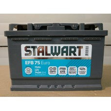 Аккумулятор автомобильный 6СТ-75  STALWART  EFB (Аком) 740А пп