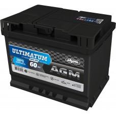 Аккумулятор автомобильный 6СТ-60 АКОМ ULTIMATUM AGM 680А оп