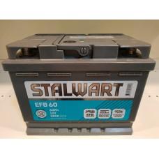 Аккумулятор автомобильный 6СТ-60  STALWART  EFB (Аком) 580А оп