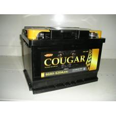 Аккумулятор автомобильный 6СТ-60 COUGAR 620А оп низкий