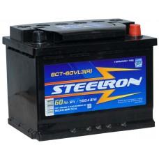Аккумулятор автомобильный 6СТ-60 STEELRON 500А оп